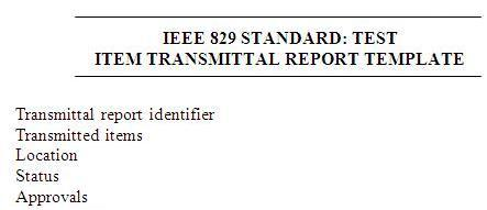 Configuration managemement or Item transmittal report template